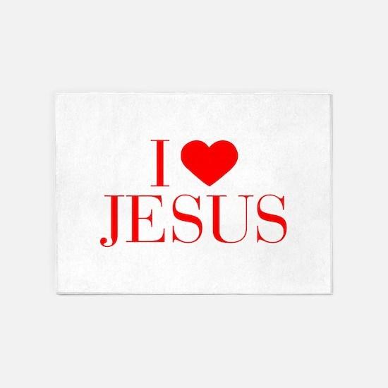 I love Jesus-Bau red 500 5'x7'Area Rug