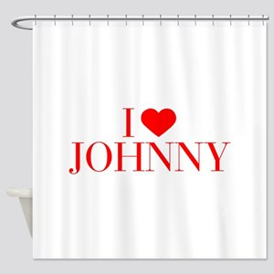 I love JOHNNY-Bau red 500 Shower Curtain