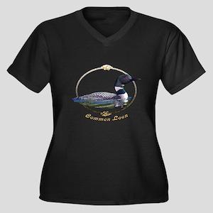Commom Loon Women's Plus Size V-Neck Dark T-Shirt