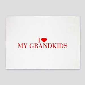 I love My Grandkids-Bau red 500 5'x7'Area Rug