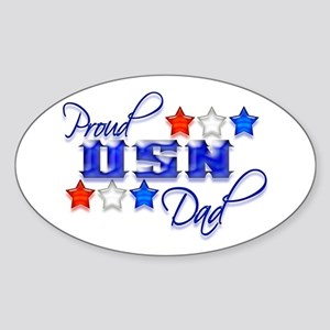 USN Star Dad Oval Sticker