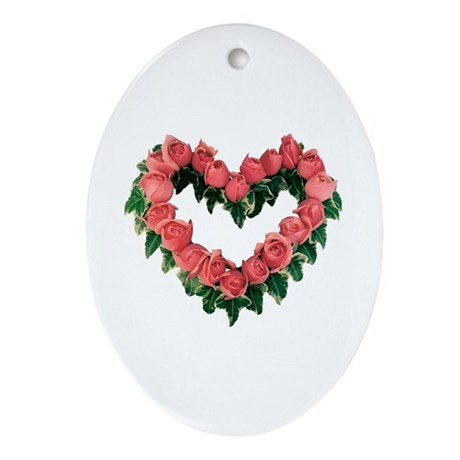Red Rose Heart Oval Ornament