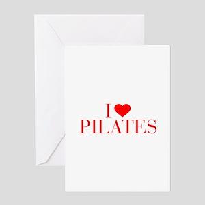 I love Pilates-Bau red 500 Greeting Cards