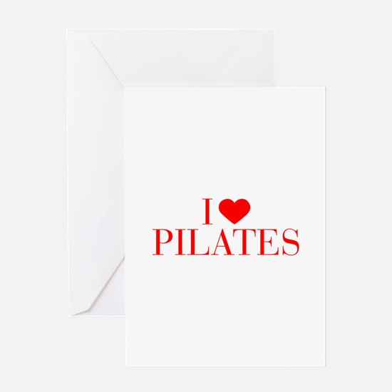 I love Pilates-Bau red 500 Greeting Cards