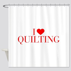 I love Quilting-Bau red 500 Shower Curtain