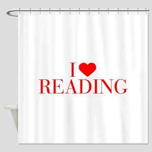 I love Reading-Bau red 500 Shower Curtain