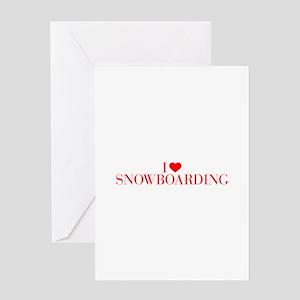 I love Snowboarding-Bau red 500 Greeting Cards