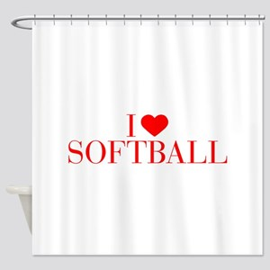 I love Softball-Bau red 500 Shower Curtain