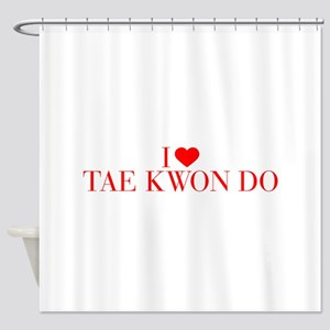 I love Tae Kwon Do-Bau red 500 Shower Curtain