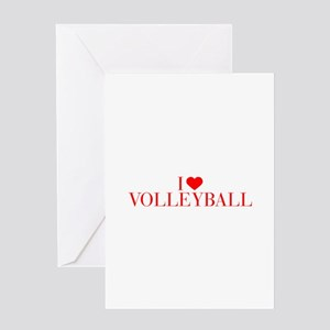 I love Volleyball-Bau red 500 Greeting Cards