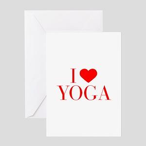 I love Yoga-Bau red 500 Greeting Cards