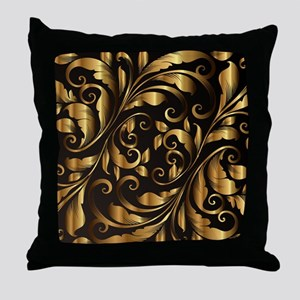 vintage floral gold Throw Pillow
