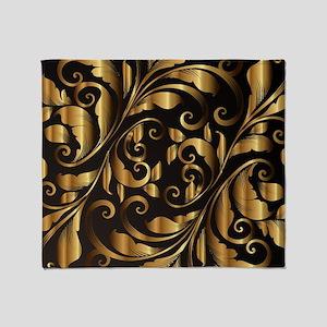 vintage floral gold Throw Blanket