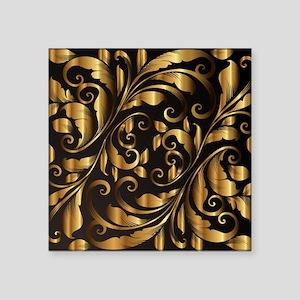 "vintage floral gold Square Sticker 3"" x 3"""