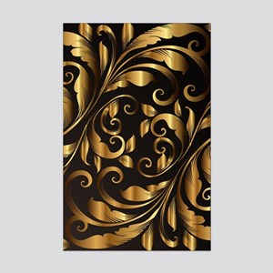 vintage floral gold Mini Poster Print