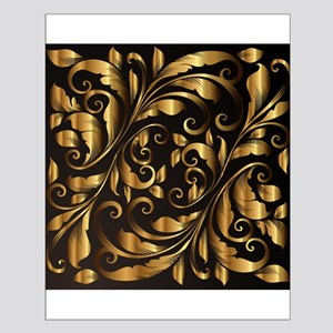 vintage floral gold Small Poster
