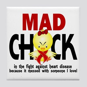 Heart Disease Mad Chick 1 Tile Coaster