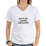 'Guys Dig Cancer Survivors' Women's V-Neck T-Shirt