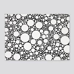 Bubbles on Black 5'x7'Area Rug