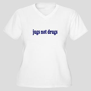 Jugs Not Drugs (Breast) Women's Plus Size V-Neck T