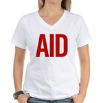 Aid (red) Women's V-Neck T-Shirt