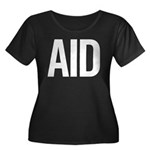 Aid (white) Women's Plus Size Scoop Neck Dark T-Sh