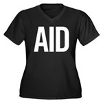 Aid (white) Women's Plus Size V-Neck Dark T-Shirt