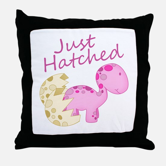 Just Hatched Pink Baby Dinosaur Throw Pillow