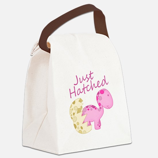 Just Hatched Pink Baby Dinosaur Canvas Lunch Bag