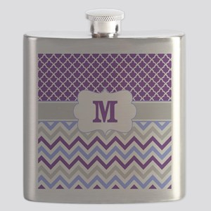 Purple Quatrefoil Chevron Monogram Flask