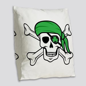 Irish Pirate Burlap Throw Pillow