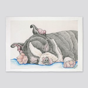 Boston Terrier Puppy Dog 5'x7'Area Rug