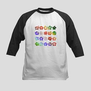 Hibiscus Rainbow Kids Baseball Jersey