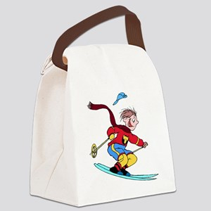 Boy Skiing Canvas Lunch Bag