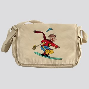 Boy Skiing Messenger Bag