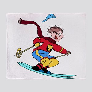 Boy Skiing Throw Blanket