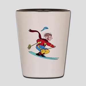 Boy Skiing Shot Glass