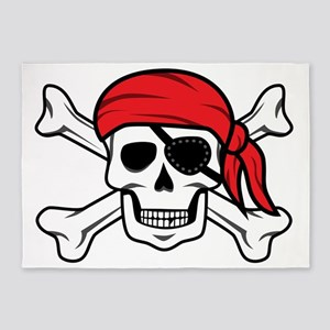 Jolly Roger Pirate 5'x7'Area Rug