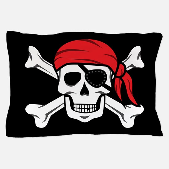 Jolly Roger Pirate (on Black) Pillow Case