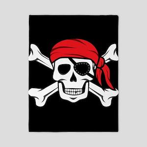 Jolly Roger Pirate (on Black) Twin Duvet