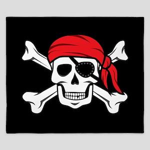Jolly Roger Pirate (on Black) King Duvet