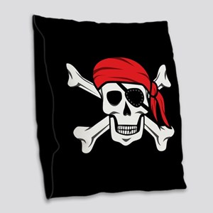 Jolly Roger Pirate (on Black) Burlap Throw Pillow