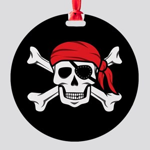 Jolly Roger Pirate (on Black) Round Ornament