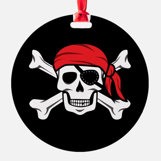 Jolly Roger Pirate (on Black) Ornament
