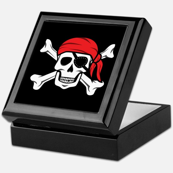 Jolly Roger Pirate (on Black) Keepsake Box