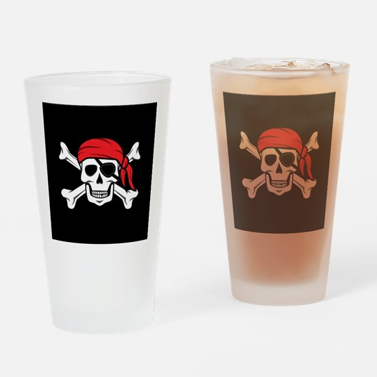 Jolly Roger Pirate (on Black) Drinking Glass