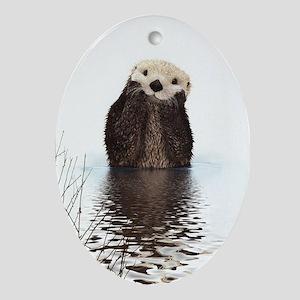 Bashful Sea Otter Ornament (Oval)