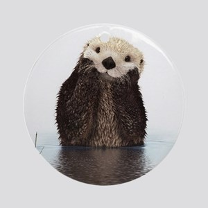 Bashful Sea Otter Ornament (Round)