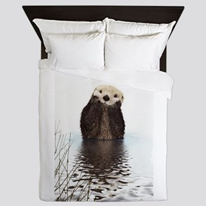 Bashful Sea Otter Queen Duvet