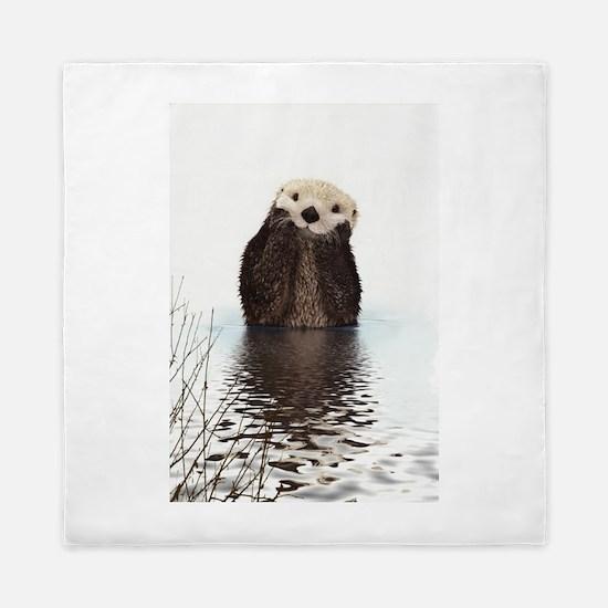 Bashful Sea Otter Queen Duvet